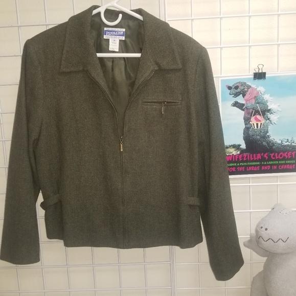 Pendleton Jackets & Blazers - Pendleton Green Virgin Wool Bomber Zip Jacket - 14